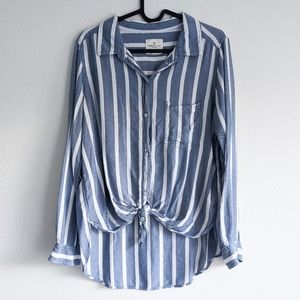American Eagle Striped High Low Button Up Blue Top